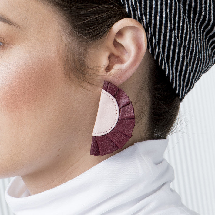 Glamour Bordo & Pink Leather Earrings