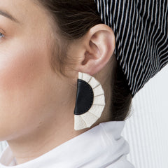 Glamour Black & White Leather Earrings