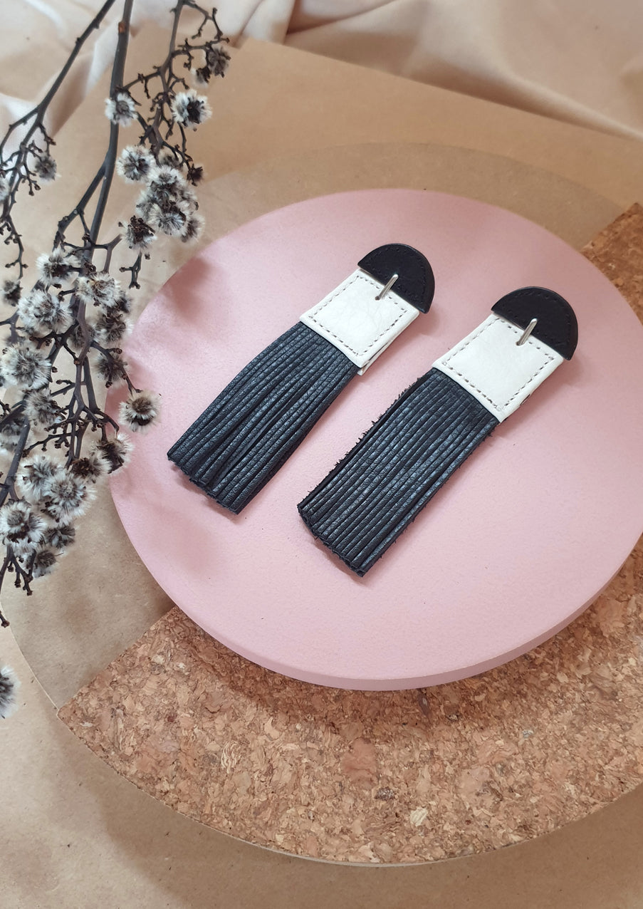 Decoup Black & White Leather Earrings