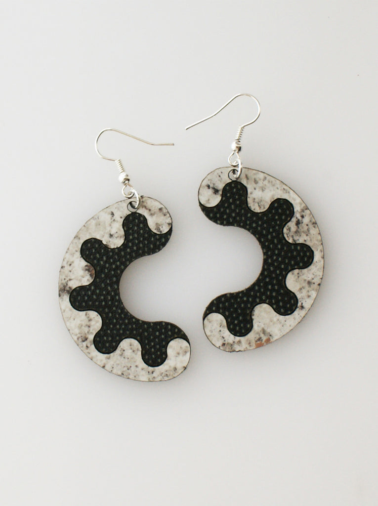 Share My Donut Earrings - grey stone