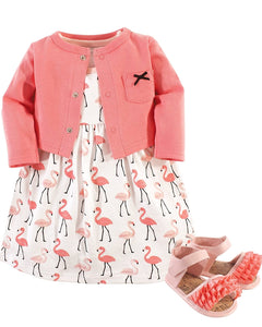 Flamingas with matching shoes and cardigan