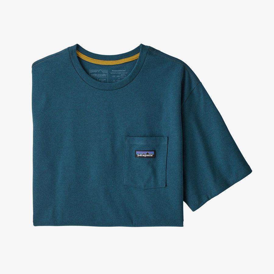 Patagonia Men's P-6 Label Pocket Responsibili-Tee Abalona Blue