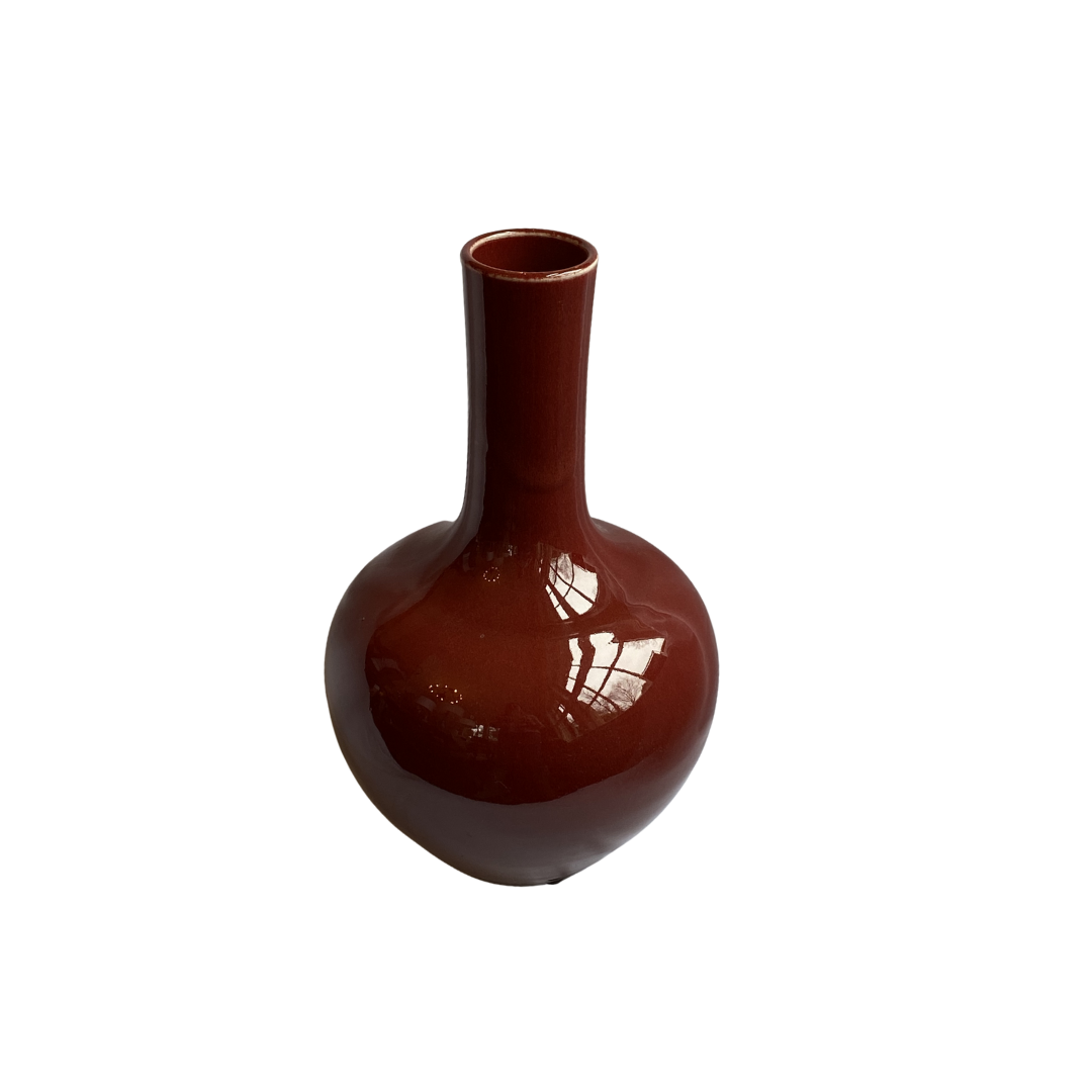 Large Gooseneck Oxblood Ceramic Vase