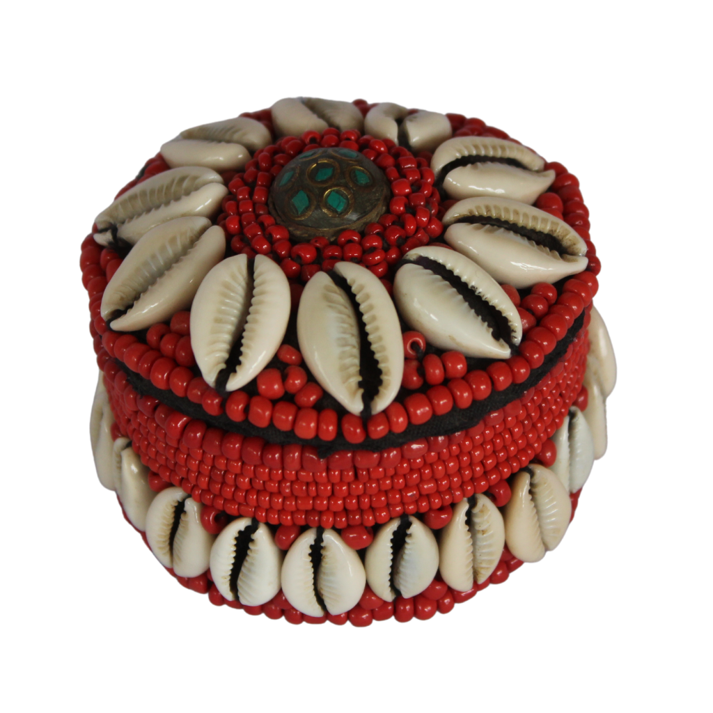 Coral Beaded Boxes with Shells
