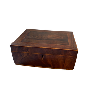 Wooden Box with Beautiful Inlaid Escutcheon Details