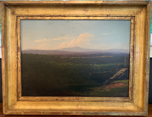 "Oil Paingting- Landscape: Labeled on back ""View near Lake Champlain; New York State; W. H. Wilcox; July 1853"""