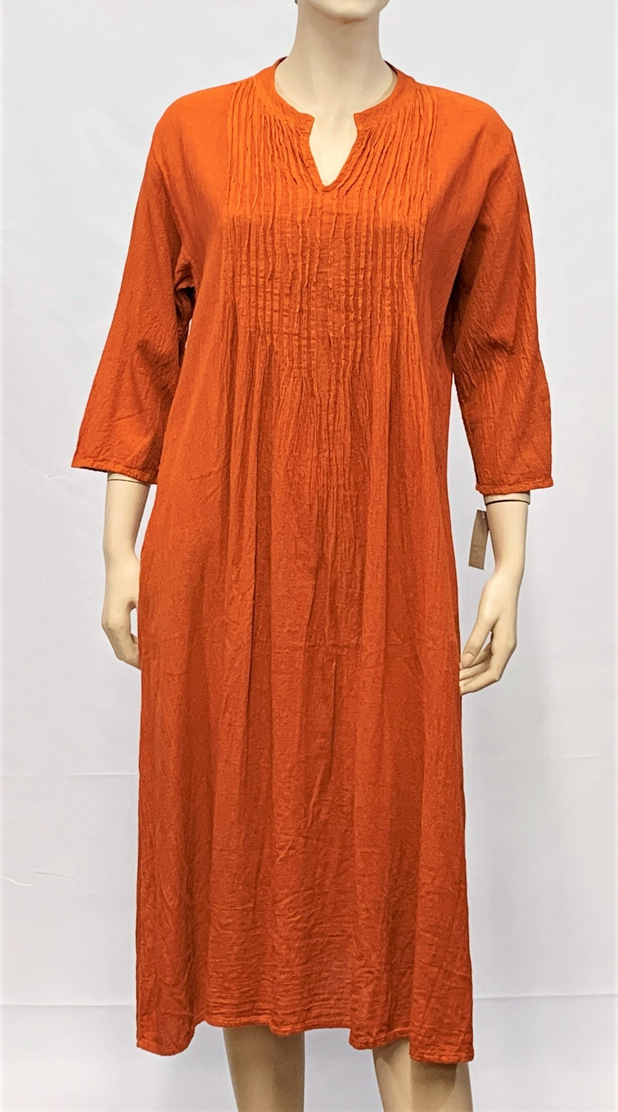 Cotton Oriental Neckline Dress