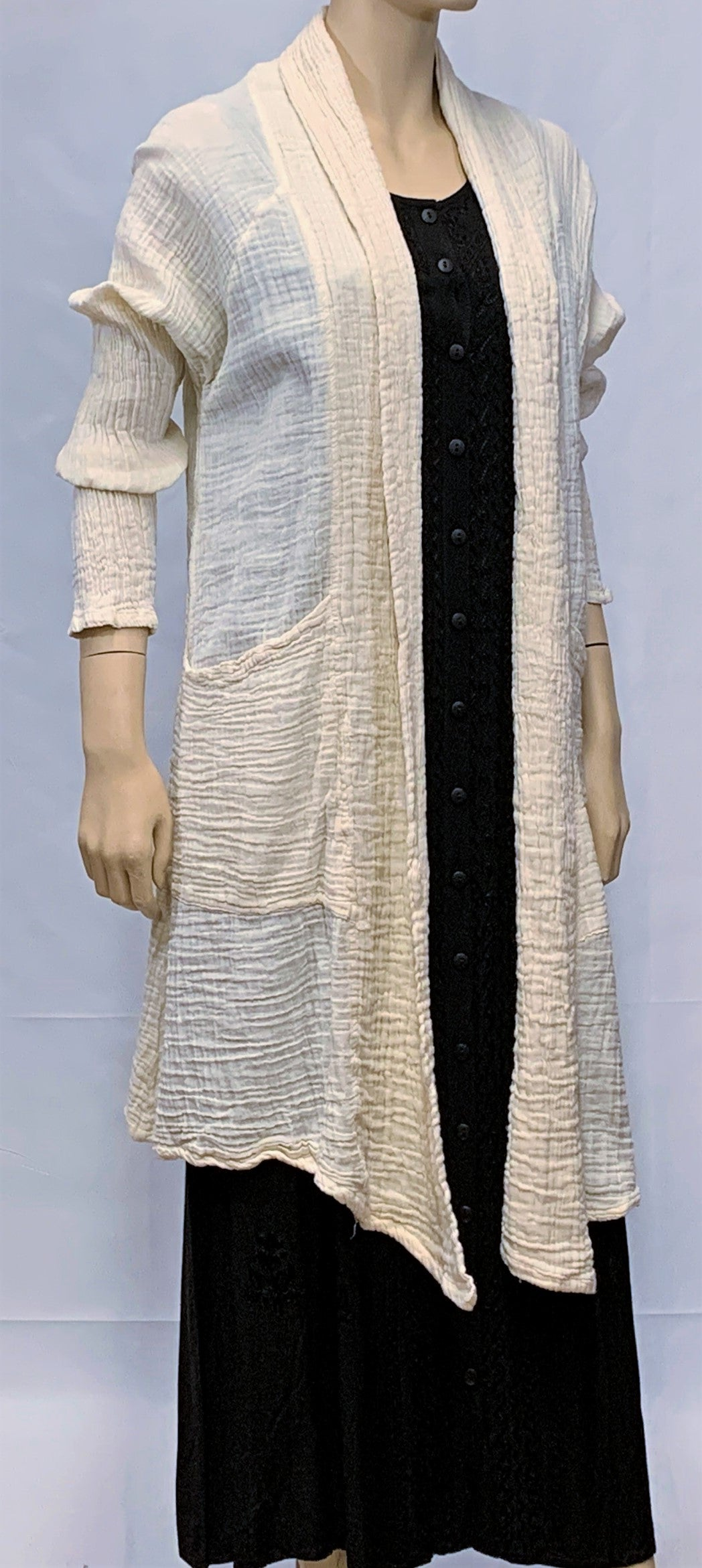 Crinkled Cotton Long Cardigan