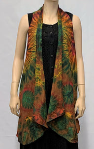 TIE-DYE Cotton Sleeveless Cardigan