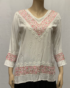 Rayon V-neck Patch Blouse