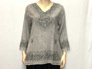 RAYON JEWEL V-NECK BLOUSE