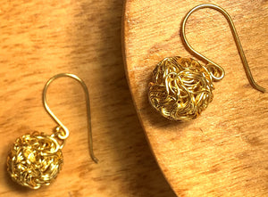 Gold Wire Ball Earring