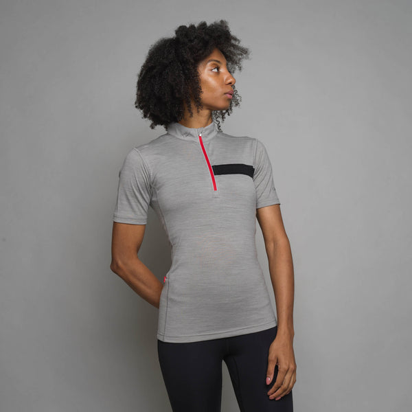 Women's Short Sleeve Merino Zip Top