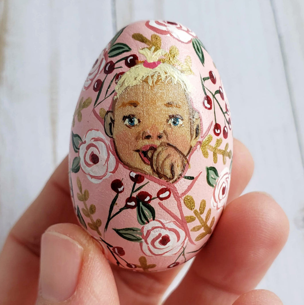 Pink Floral Easter Egg, Baby Eleanor
