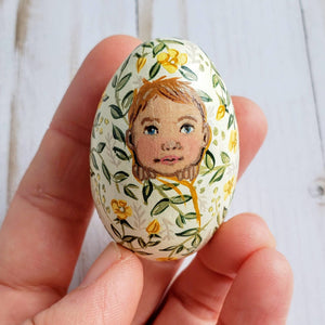 Yellow Floral Easter Egg, Baby Freya
