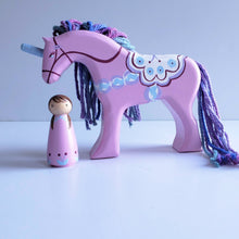 Load image into Gallery viewer, Dala Unicorn - Lavender with purple/blue mane