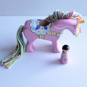 Dala Unicorn - Lavender with pastel rainbow mane