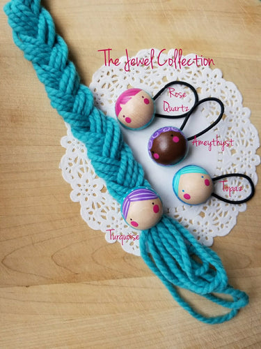 Wooden Pony Tail Holder, The Jewel Collection - My Pretty Peggy