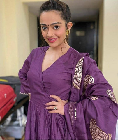 APPORVA ARORA IN IRIS PURPLE SUIT SET BY AMBRAEE