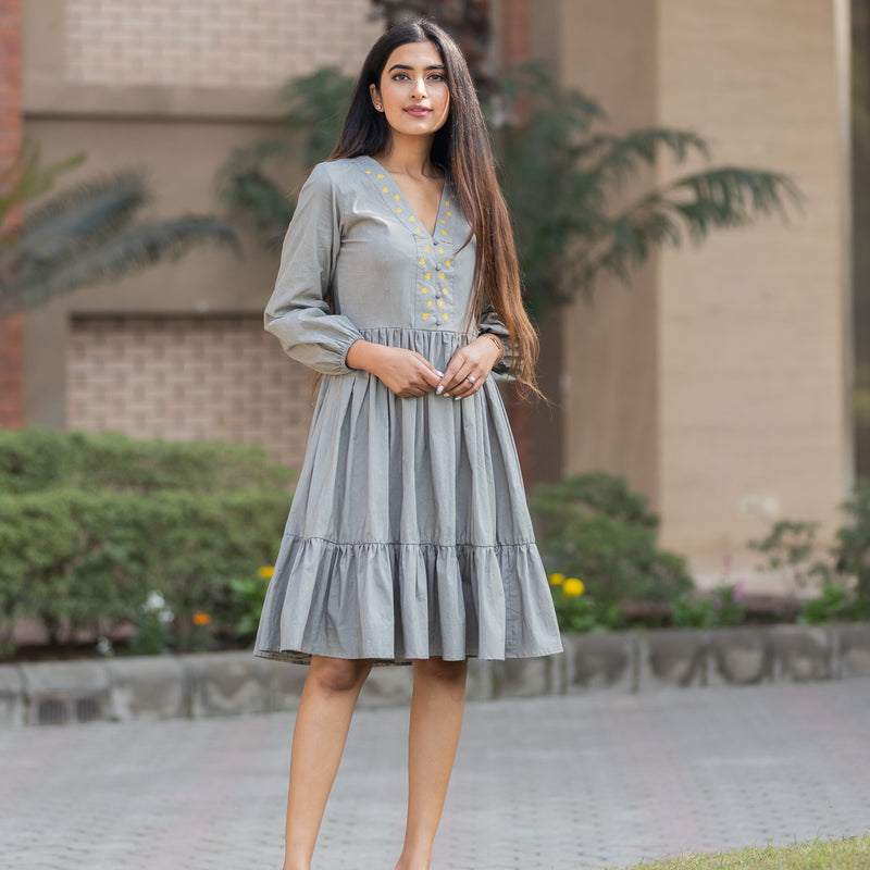 17- Gray Poplin Dress - Ambraee