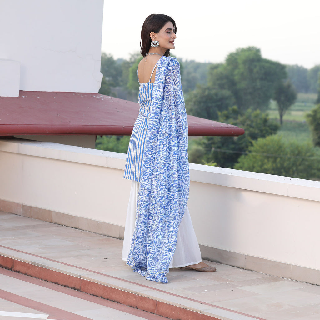 Blue Stripe Sharara