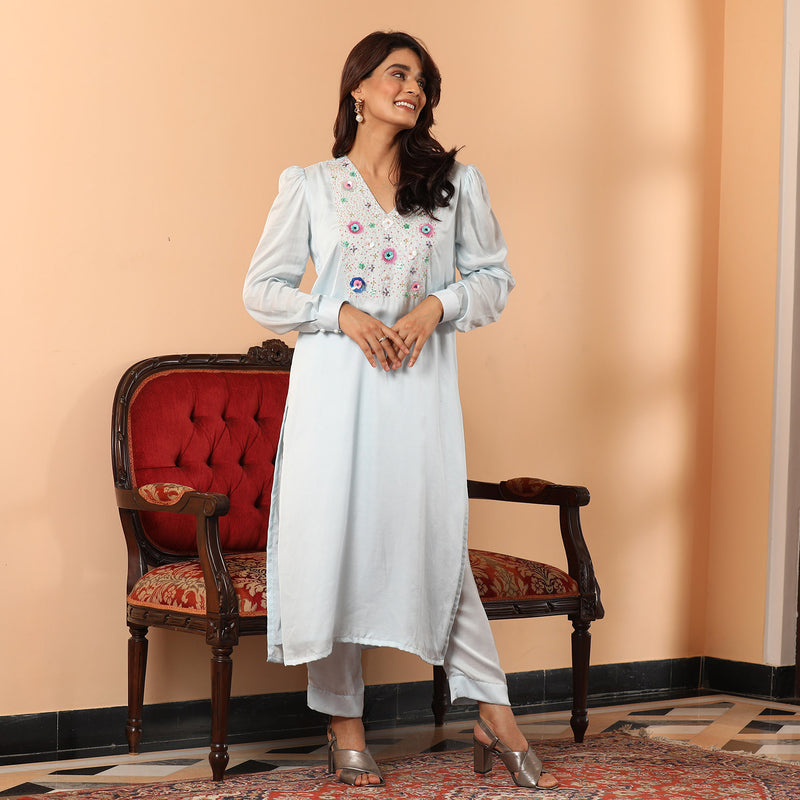 Lapise Beaded Kurta Set - Ambraee