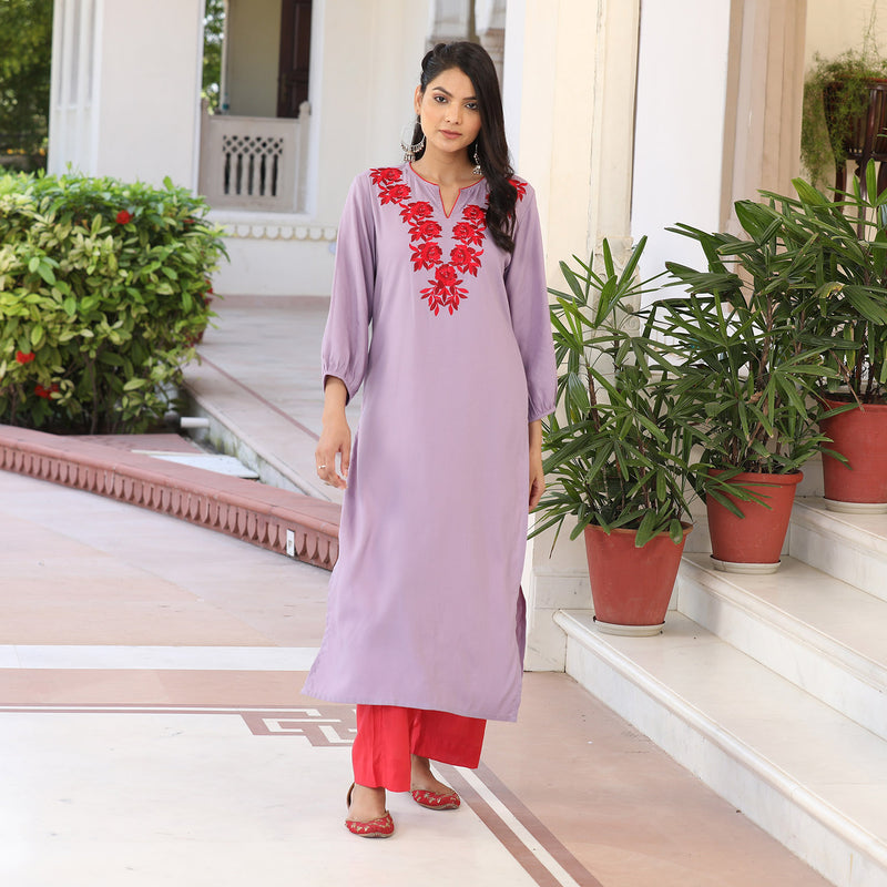 Lilac red embroidered neck kurta set