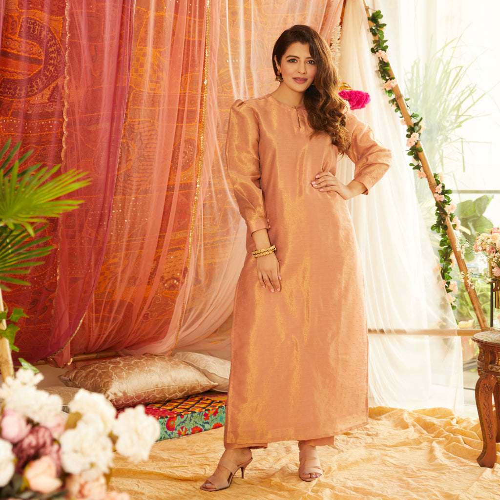 Peach Tissue Kurta Set