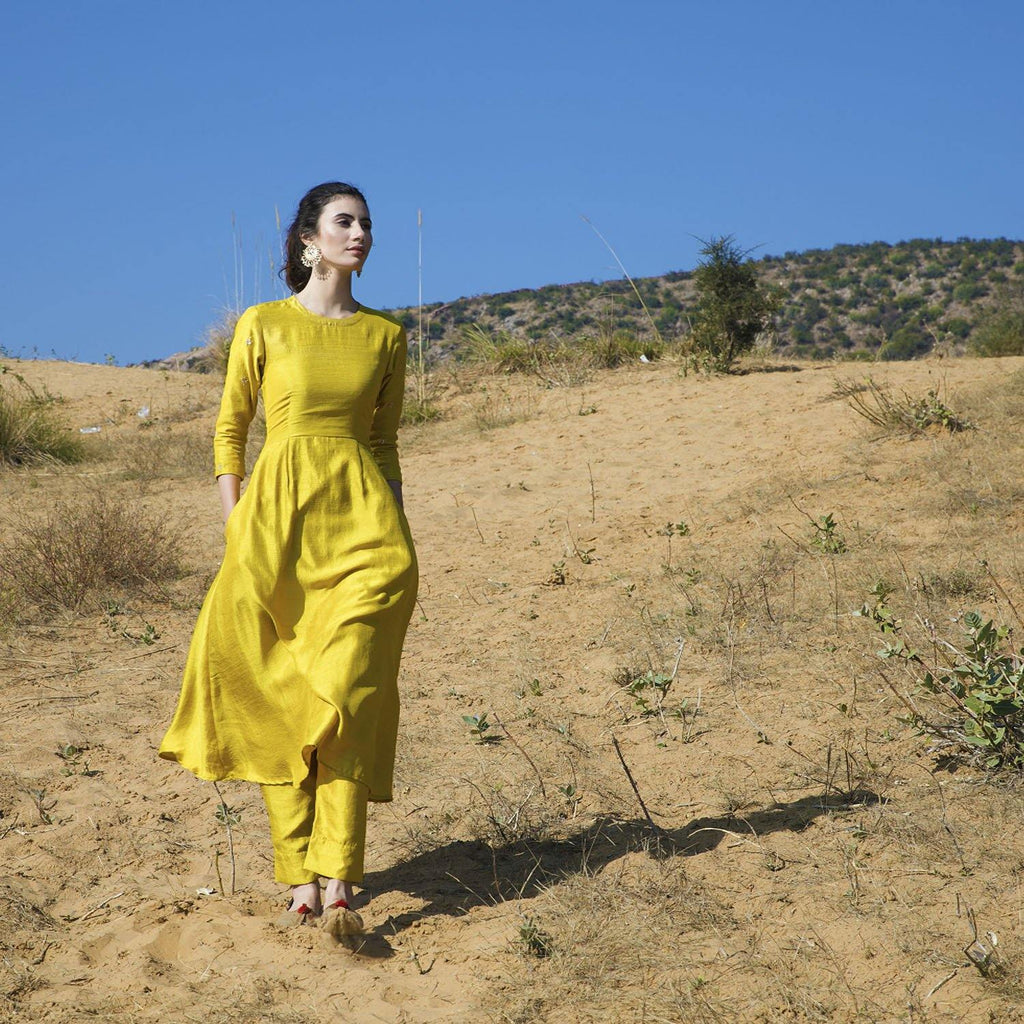 Yellow Silk Kurta Set - Ambraee