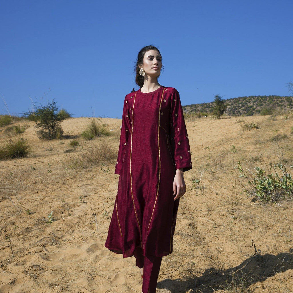 Maroon Silk Kurta Set