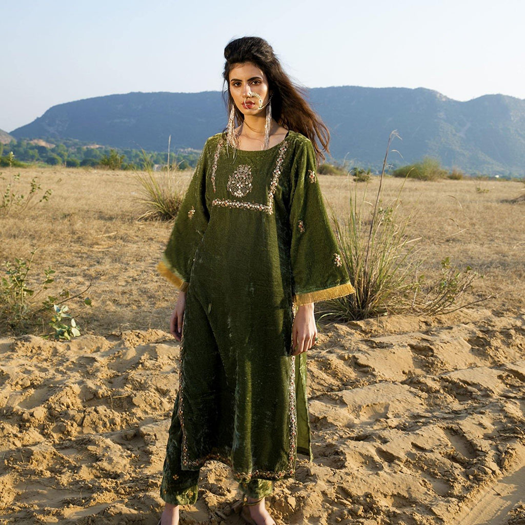 Green Silk Velvet Kurta Set