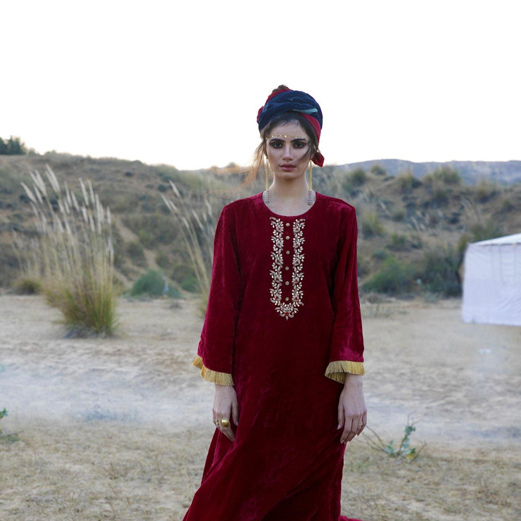 Red Silk Velvet Kurta Set - Ambraee