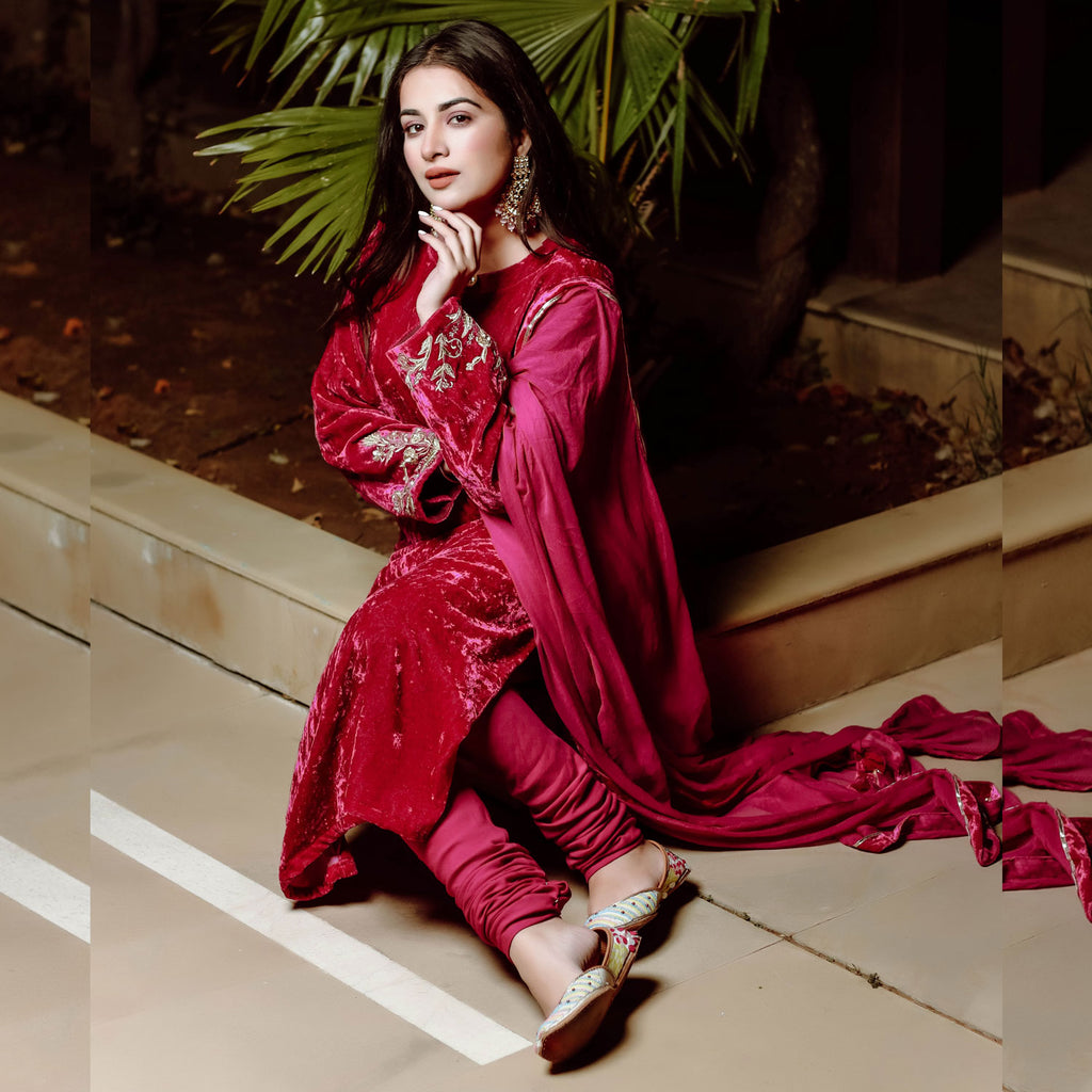 Gulabi Velvet Suit Set