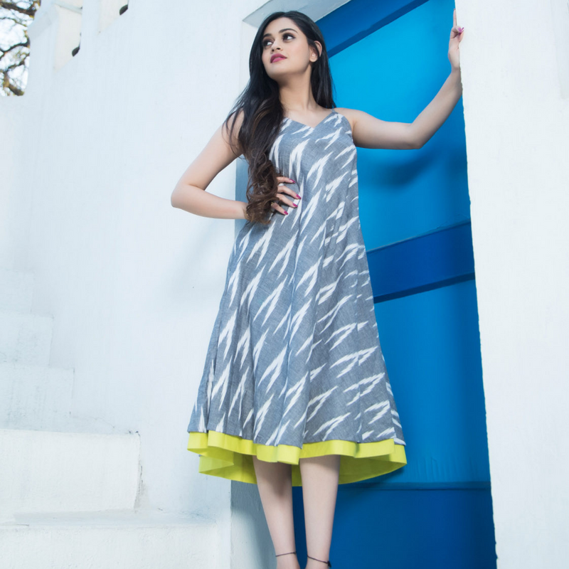 Ikat Dress With Green Panel