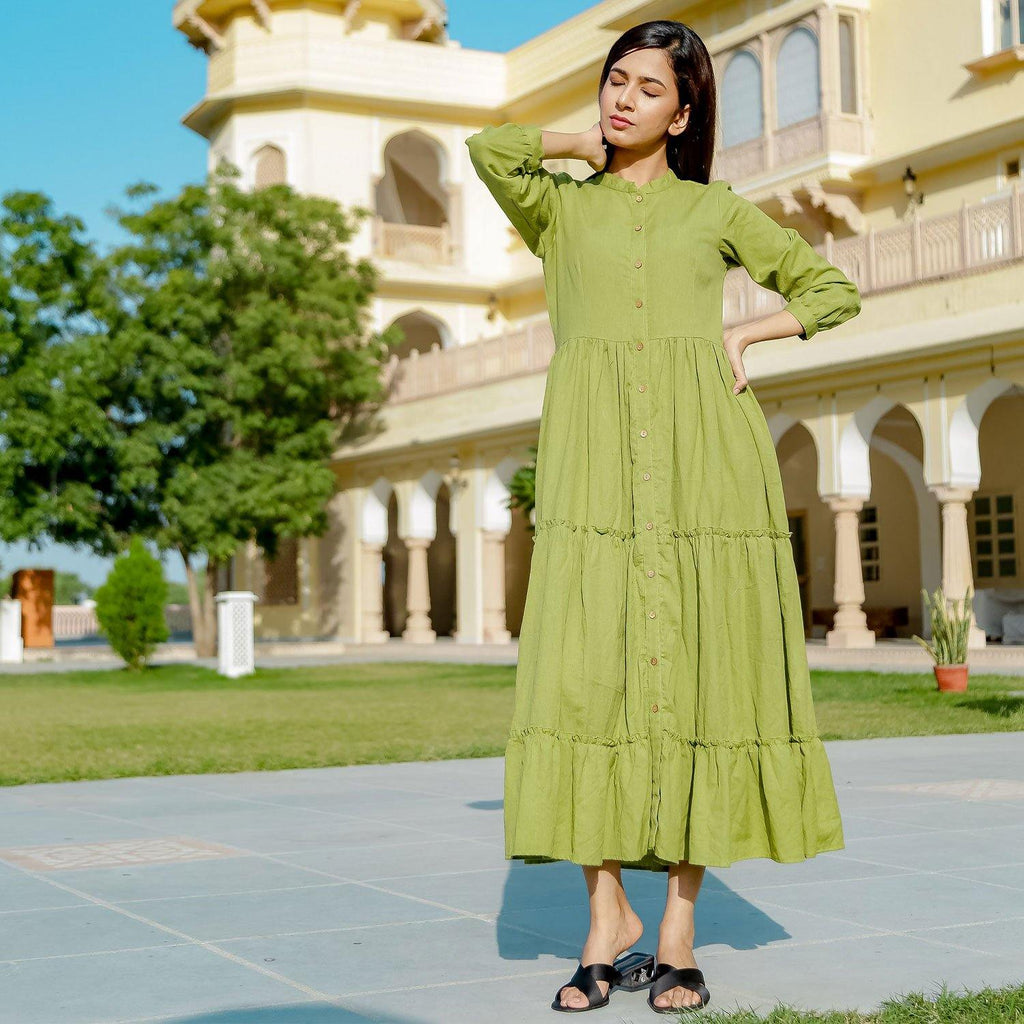 GREEN TIER DRESS - Ambraee