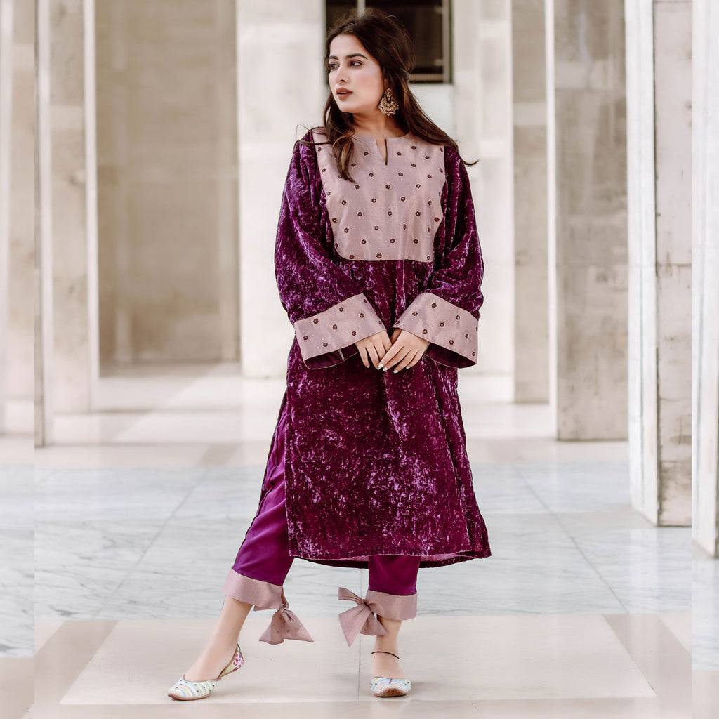 Royal Tissue Velvet Kurta Set