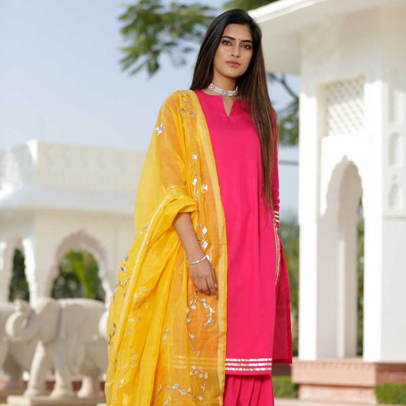 Pink Sharara Set - Ambraee