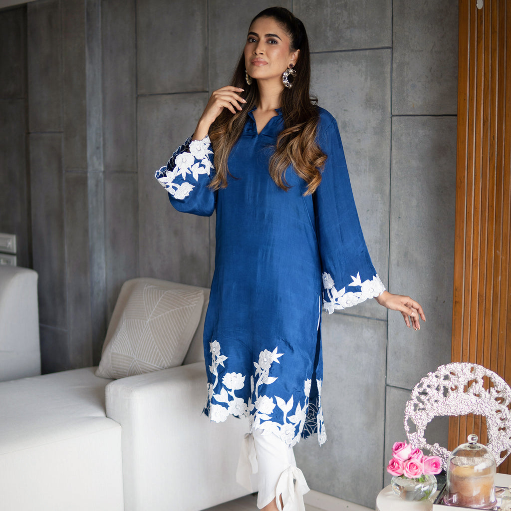 Classic Blue Silk Embroidered Kurta Set