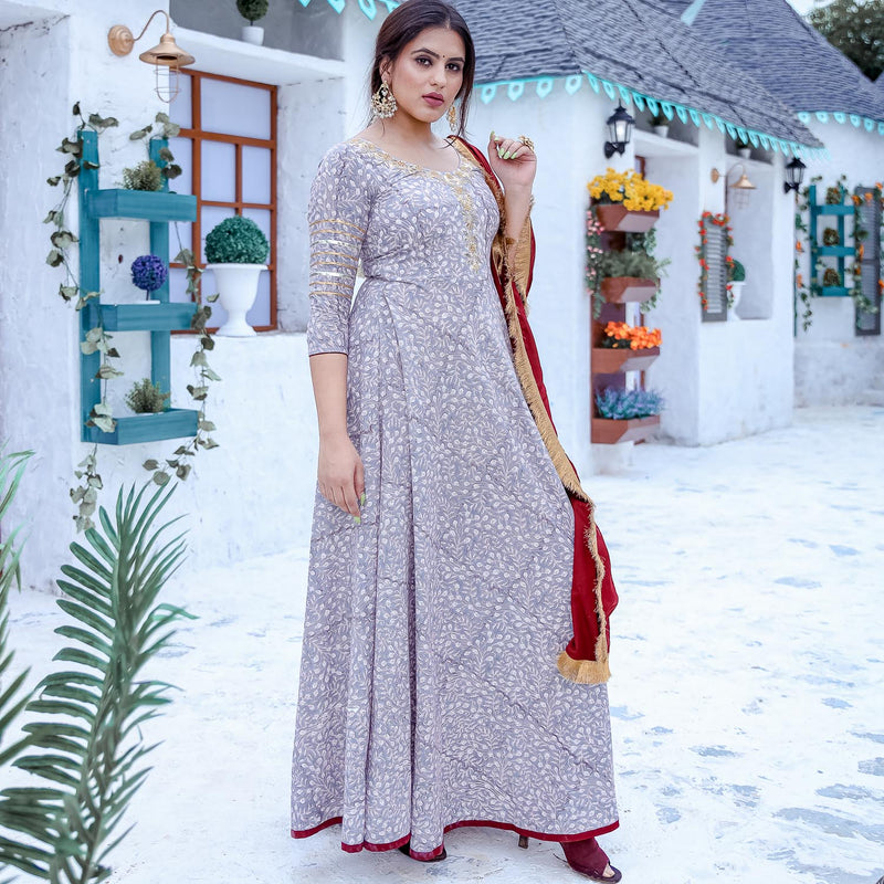 Grey Floor Length Suit Set - Ambraee