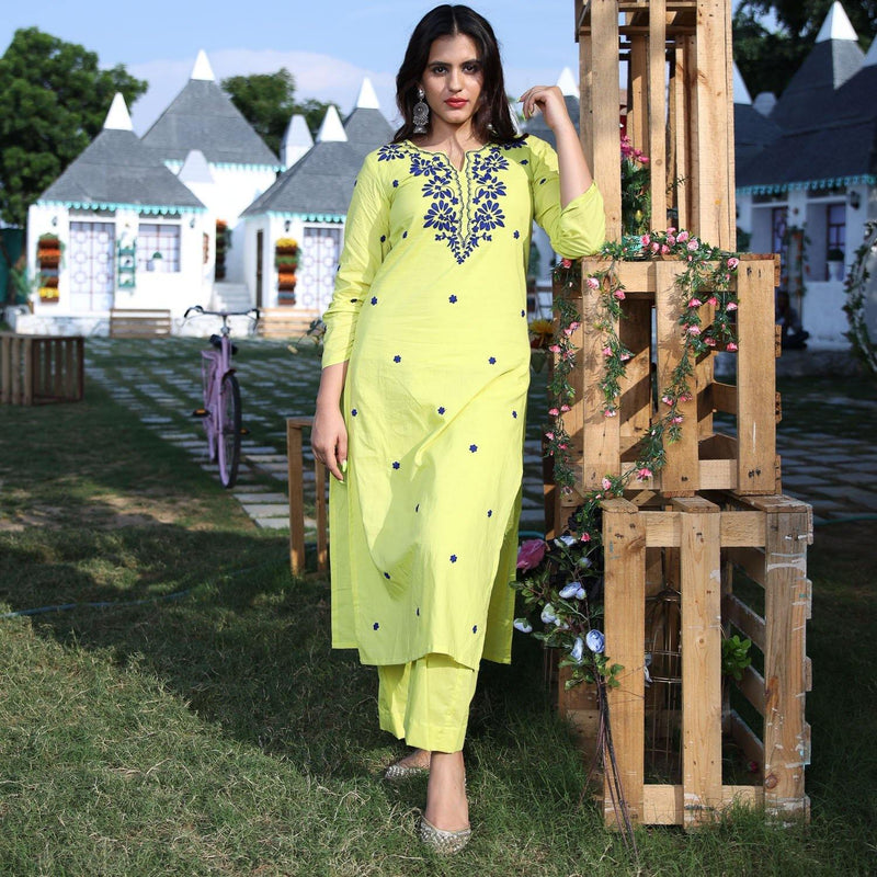 Lime Blue Dori Kurta Set - Ambraee