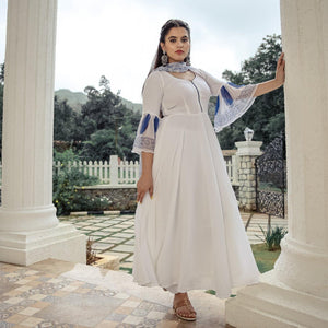 Buy White Chiffon Tasseled Suit Set With Plazzo Pants - Ambraee