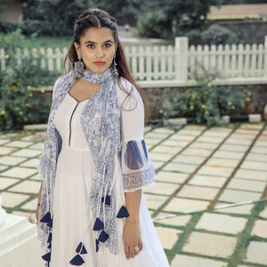 Women's Latest Design White Chiffon Tasseled Suit Set With Chiffon Dupatta - Ambraee