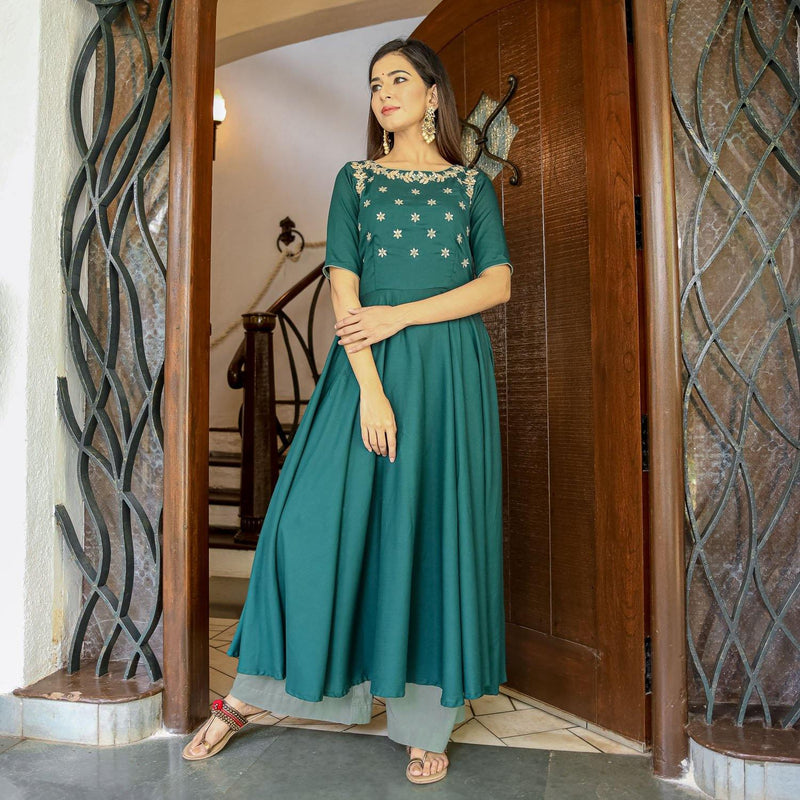 Emerald Green Hand Work Kurta Set - Ambraee