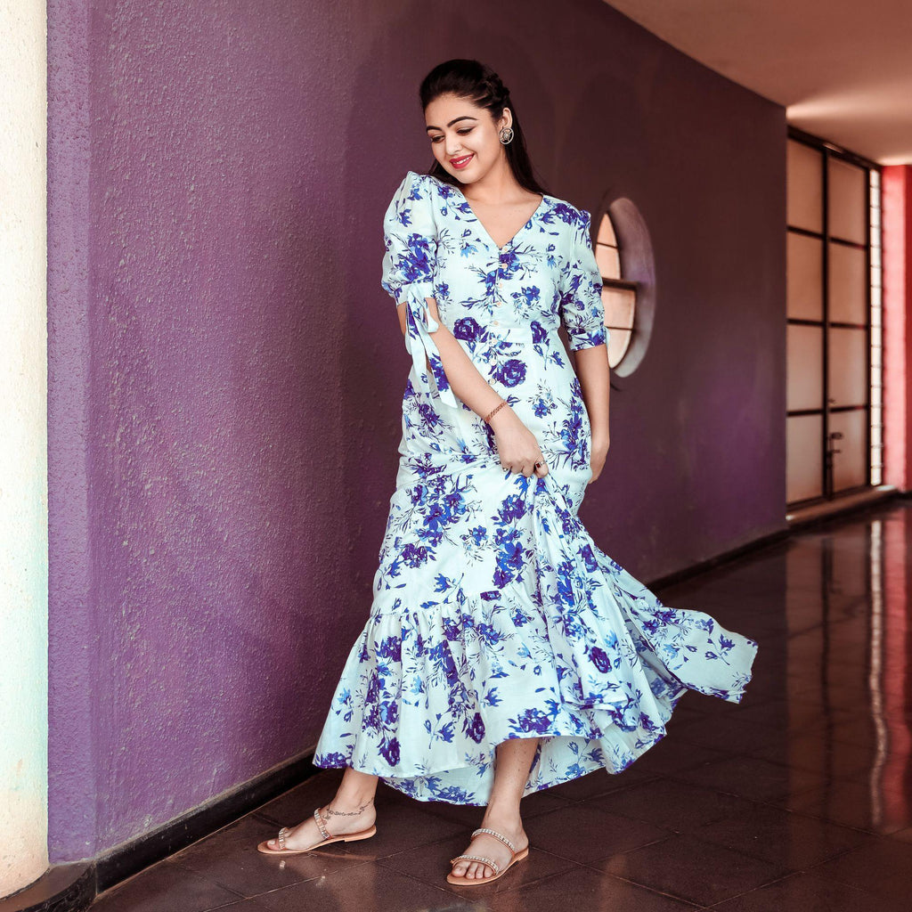 Blue Floral Maxi - Ambraee