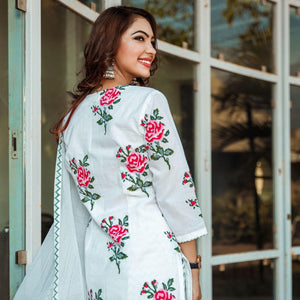 Latest Desgin Red Rose Block Print Suit Online For Girls - Ambraee
