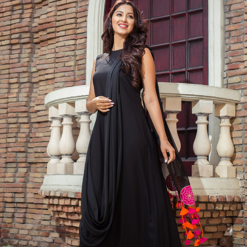 Black Drape Maxi Dress- Ambraee