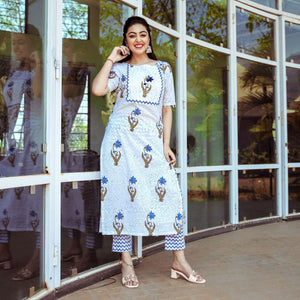 Blue Sequined Flower Kurta Set