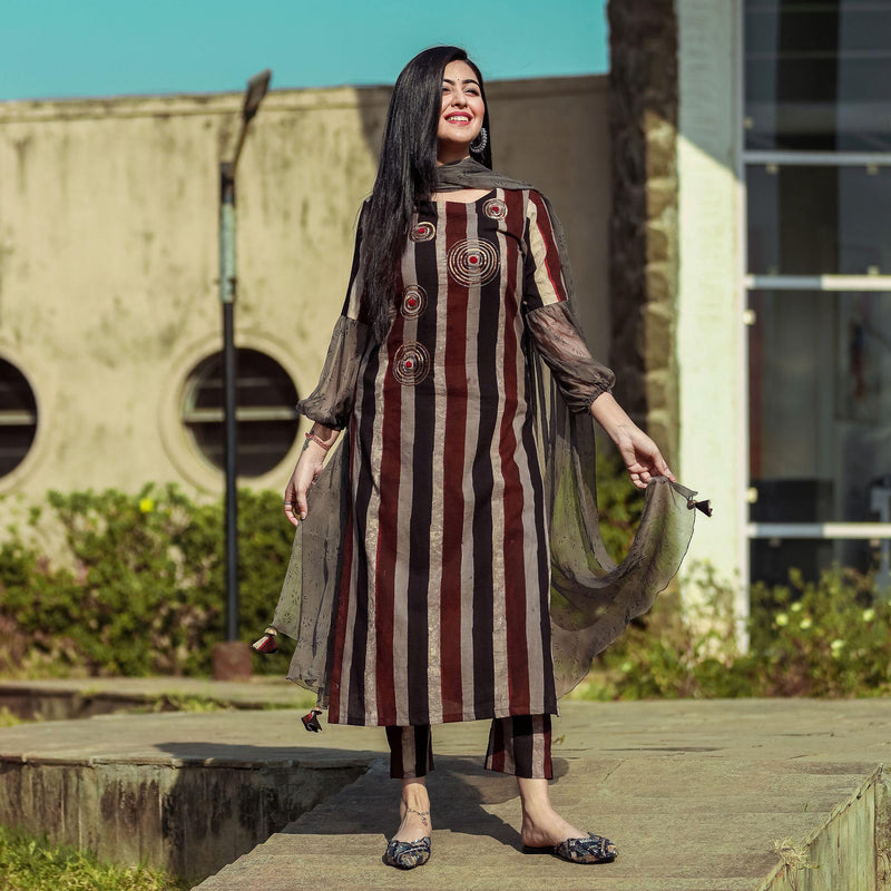 Brown Stripe Embroidered Suit - Ambraee