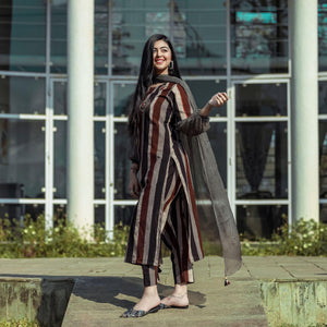 Indian Ethnic Brown Stripe Embroidered Suit Set For Women - Ambraee