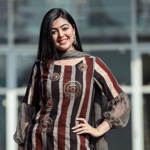 Brown Stripe Embroidered Suit Sewt With Round Neck - Ambraee